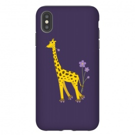 iPhone Xs Max  Cute Funny Rollerskating Giraffe by Boriana Giormova