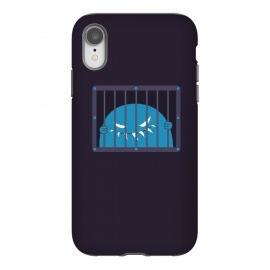 iPhone Xr  Evil Monster Kingpin Jailed by Boriana Giormova (monster,character,funny,evil,dark,goth,gothic,evil monster,evil character,evil creature,creature,jail,jailed,jail bars,grin,grinning,fun,evil smile,teeth)