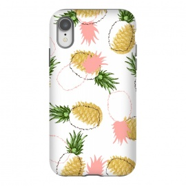 iPhone Xr  Pineapples & Pine Cones by Uma Prabhakar Gokhale (graphic, acrylic, pattern, food, pineapple, fruit, fruit pattern, tropical, sweet, nature, gold, golden, pine cones, exotic)