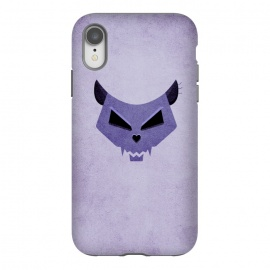 iPhone Xr  Purple Evil Cat Skull by Boriana Giormova (cat skull,cat,cats,skull,skulls,purple,feline,kitty,evil cat,evil kitty,evil ckull,geometric skull,illustration,halloween,funny,dark,scary)