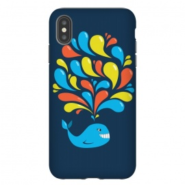 Cute Colorful Splash Cartoon Blue Whale by Boriana Giormova