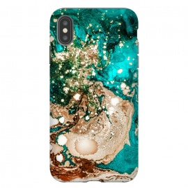 iPhone Xs Max  Resin Obsession by Uma Prabhakar Gokhale (resin art, blue, teal, exotic, bronze, metallic, gold, copper, rose gold, flow, paint filter, paint effect, digital manipulation)