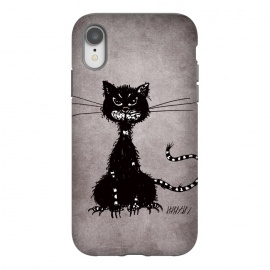 iPhone Xr  Ragged Evil Black Cat by Boriana Giormova (cat,cats,black cat,evil cat,black kitty,evil kitty,kitty,cat lover,feline,halloween,animal,dark,gothic,goth)