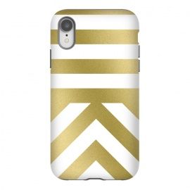 iPhone Xr  Gold Chevron Stripes by Caitlin Workman