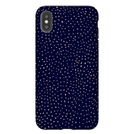 iPhone Xs Max  Dotted Gold and Navy by Caitlin Workman