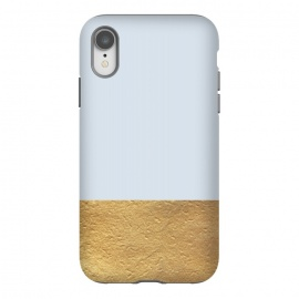iPhone Xr  Color Block Light Blue and Gold by Caitlin Workman