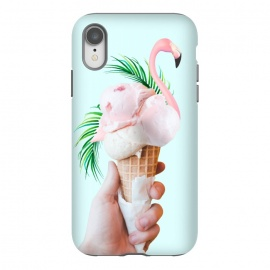 iPhone Xr  Tropical Ice Cream by Uma Prabhakar Gokhale (collage, ice cream, tropical, palms, palm leaves, palm leaf, exotic, dessert, sweet, baby pink, green, cone, food, cold, flamingo, animal, birds)