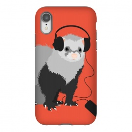 iPhone Xr  Funny Music Lover Ferret by Boriana Giormova (ferret,ferrets,ferret lover,animal,cute pet,cute ferret,funny ferret,music ferret,music,musician,music lover,musical,headphones,audiophile)