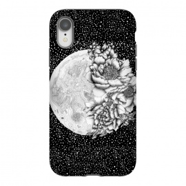 iPhone Xr  Moon Abloom by  (Moon,flowers,floral,pen and ink,surreal,whimsical,space,stars,night,luna)
