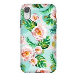 iPhone Xr  Blessing by Uma Prabhakar Gokhale (graphic design, watercolor, pattern, blush, white, pink, tropical, teal, blue, green, monstera, tropicalroses, floral, flowers, nature, blossom, bloom, cute, pretty, palm)