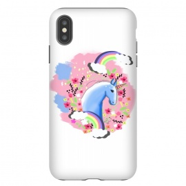iPhone Xs Max  Floral Unicorn by MUKTA LATA BARUA (unicorn,floral,magical,dream,animal print,pretty,beautiful,illustration,rainbow,clouds)