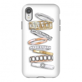 iPhone Xr  Stack of Brand Designer Bracelets by  (pile of bracelets,stack of bracelets,fashion,designer,brand,illustration, jewelry,jewellery,accessories,gold,silver,modern,stylish,pretty,feminine, fashionable,girlie,eye candy)
