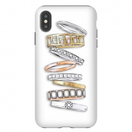iPhone Xs Max  Stack of Brand Designer Bracelets by Martina (pile of bracelets,stack of bracelets,fashion,designer,brand,illustration, jewelry,jewellery,accessories,gold,silver,modern,stylish,pretty,feminine, fashionable,girlie,eye candy)