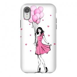 iPhone Xr  Girl with balloons by  (fashion, fashionable, stylish, modern, feminine, pretty, girlie, art,artwork, illustration, drawing, woman, girl,balloons,pink,cute,sweet, gift for her,brunette)