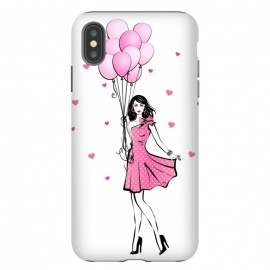 iPhone Xs Max  Girl with balloons by Martina (fashion, fashionable, stylish, modern, feminine, pretty, girlie, art,artwork, illustration, drawing, woman, girl,balloons,pink,cute,sweet, gift for her,brunette)