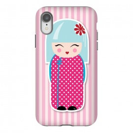 iPhone Xr  Kokeshi doll by Martina (fashion, fashionable, stylish, modern, feminine, pretty, girlie, art,artwork, illustration, drawing, woman, girl, gift for her,cute, sweet,kokeshi,doll,pink)