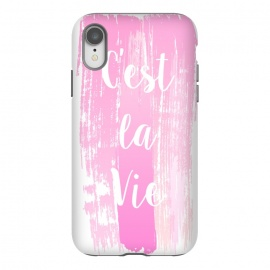 iPhone Xr  C'est la vie pink watercolour by Martina (fashion, fashionable, stylish, modern, feminine, pretty, girlie, art,artwork, illustration, drawing, woman, girl, gift for her,typography, words, motto,quote,pink,watercolor,watercolour,c'est la vie,that is life)