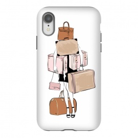 iPhone Xr  Woman with luggage by Martina (fashion, fashionable, stylish, modern, feminine, pretty, girlie, art,artwork, illustration, drawing, woman, girl, gift for her,travel,travelling, wanderlust,luggage,bag,bags,handbag,carrier,suitcase,traveling,holiday,travel blogger)