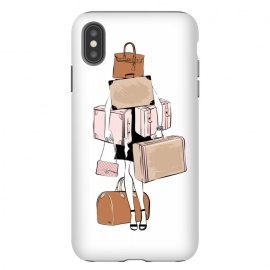 iPhone Xs Max  Woman with luggage by Martina (fashion, fashionable, stylish, modern, feminine, pretty, girlie, art,artwork, illustration, drawing, woman, girl, gift for her,travel,travelling, wanderlust,luggage,bag,bags,handbag,carrier,suitcase,traveling,holiday,travel blogger)