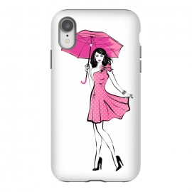 iPhone Xr  Pretty girl with umbrella by  (fashion, fashionable, stylish, modern, feminine, pretty, girlie, art,artwork, illustration, drawing, woman, girl, gift for her,umbrella, pink,happy,figure,body,dress,polka dots)