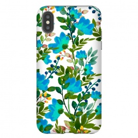 iPhone Xs Max  Blue by Uma Prabhakar Gokhale (graphic design, pattern, blue, teal, floral, flowers, nature, botanical, blossom, bloom, green, exotic, tropical)