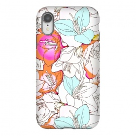 iPhone Xr  Early Bloomer by Uma Prabhakar Gokhale (graphic design, pattern, floral, nature, line art, ink drawing, blossom, flowers, exotic, pink, orange, coral, white, mint, bloom)