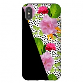 iPhone Xs Max  Dark Floral Polka by Zala Farah (floral,dark flowers,black,polka,polka dots,abstract flowers,floral print,floral nature,nature print,art,cute,lush,botanic,botanical, artist,modern,boho)