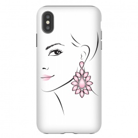 iPhone Xs Max  Earring Lady by Martina (woman, girl, face, lady, portrait, pink, minimalistic, simple, modern, stylish, femimine, girlie, pretty, beauty,for her,fashionable,earring, accessory)
