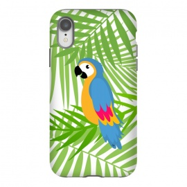 iPhone Xr  Cute colourful parrot by Martina (parrot, bird, animal,coloruful,jungle, exotic,modern, stylish, fashion, for her,sweet,cute,nature,leaves,palm,illustration,custom,original, unique,green)