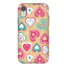 iPhone Xr  Love Hearts by Martina (pattern, abstract, modern, stylish, original, feminine, girlie,unique,illustration, heart, love, passion,colourful,geometric)