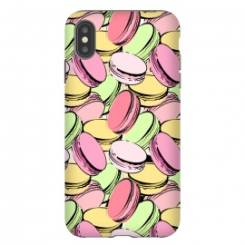 iPhone Xs Max  Sweet Macarons by Martina (macarons, dessert, sweet, yummy,food,colourful, modern, stylish, fashion, beauty, original, unique, for her, feminine, girlie, illustration,france, french, paris, pattern)