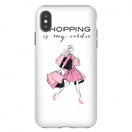 iPhone Xs Max  Shopping Girl by Martina (shopping, cardio,shopping is my cardio,typography, quote, motto, words, wording, woman, girl,lady,shoppaholic,shopping bags,pink,modern, stylish, fashion, illustration, fashion illustration, unique, original, feminine, girlie, for her)