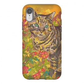 iPhone Xr  Tabby Cat in Geraniums by