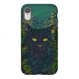 iPhone Xr  Black Cat in Ferns by Lotti Brown