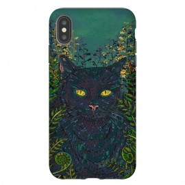 iPhone Xs Max  Black Cat in Ferns by Lotti Brown