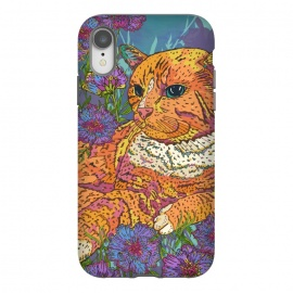 iPhone Xr  Ginger Cat in Flowers by Lotti Brown