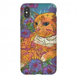 iPhone Xs Max  Ginger Cat in Flowers by Lotti Brown
