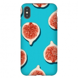 Fig Lover by Uma Prabhakar Gokhale (graphic design, pattern, fig, figs, fruits, fruit pattern, tropical, sweet, delicious, juicy, fruity, tropical food, blue, teal, pink, red)