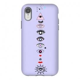 iPhone Xr  Eye tripping by  (eye,evil eye,magic,illustration,purple,star,love,red,heart,eyelash,black and white)