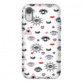 iPhone Xr  Magic eyes by MUKTA LATA BARUA (eye,eye print,vector,magic,eyelash,evil eye,destiny,power,cute,trends,love,heart,red,kiss,lips,star,black,white)