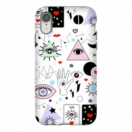 iPhone Xr  Magic eyes white by MUKTA LATA BARUA (eyes,evil eye,magic,pink,red,black,white,illustration,graphic,vector,moon,new moon,eyelash,crystals,tarot cards,destiny,power)