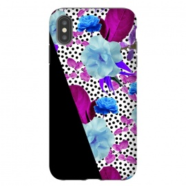 iPhone Xs Max  Dark Polka Florals (Blue-Purple) by Zala Farah (floral,dark flowers,floral print,nature,flower art,purple flowers,blue floral print,bright,colorful,blue flowers,art,floral art,floral collage,flower pattern,flower print,pretty,pretty flowers,polka dots,collage,zala02creations)