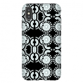 iPhone Xs Max  Inner Workings by Bettie * Blue (black and white,black & white,geometric,geo,pattern)