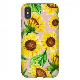 iPhone Xs Max  Sunny by Uma Prabhakar Gokhale (pattern, sunflowers, sun flower, sunslower, valley, nature, botanical, pink, pastel, yellow, sunny, bright, blossom, floral, leaves, flowers, bloom, flourish, exotic)