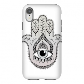 iPhone Xr  Hamsa Hand by  (Hamsa, Hand, drawing, mandala, zentangle, nature, eye, power, middle-east, indian, spiritual, cultural, black, symmetry)