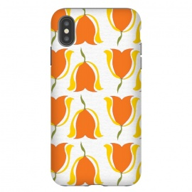 Tulips d'Orange by Bettie * Blue (orange,tulips,yellow,sunshine,happy,warm,pattern,flowers,floral,geometric)