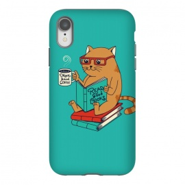 iPhone Xr  Cat coffee and books by  (CAT, CATS, READ, BOOK,S COFFEE, COFFEE LOVERS, ANIMALS, CUTE, ADORABLE, FUNNY, PET, PETS, LOVER, KITTY, NERD, CAT LADY)