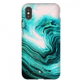 iPhone Xs Max  Agata by Uma Prabhakar Gokhale (graphic, acrylic, agate, nature, contrast, blue, black, pink exotic waves abstract)