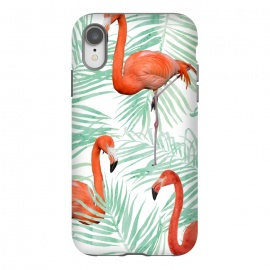 iPhone Xr  Flamingo & Mint Palm by Uma Prabhakar Gokhale (watercolor, palm, nature, flamingo, tropical, green, mint, palm leaves, birds, exotic, botanical, coral, animals, fly)