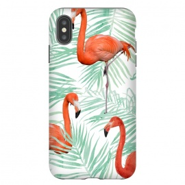 Flamingo & Mint Palm by Uma Prabhakar Gokhale (watercolor, palm, nature, flamingo, tropical, green, mint, palm leaves, birds, exotic, botanical, coral, animals, fly)